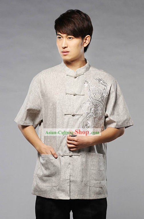 Chinese Classical Embroidered Dragon Shirt for Man