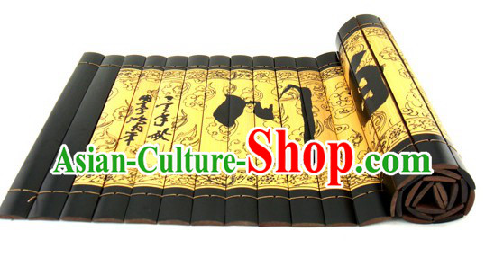 Chinese Classicial Inscribed Bamboo Scroll