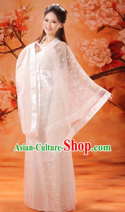 Ancient Chinese White Fairy Flower Clothing for Women