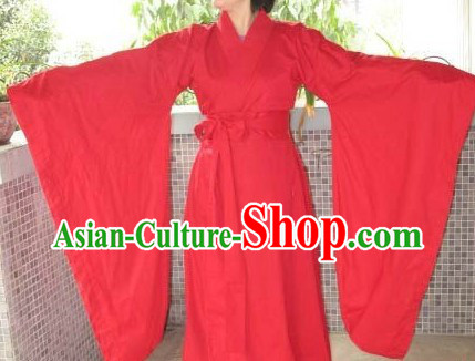 Ancient Chinese Plain Red Wedding Dress for Women