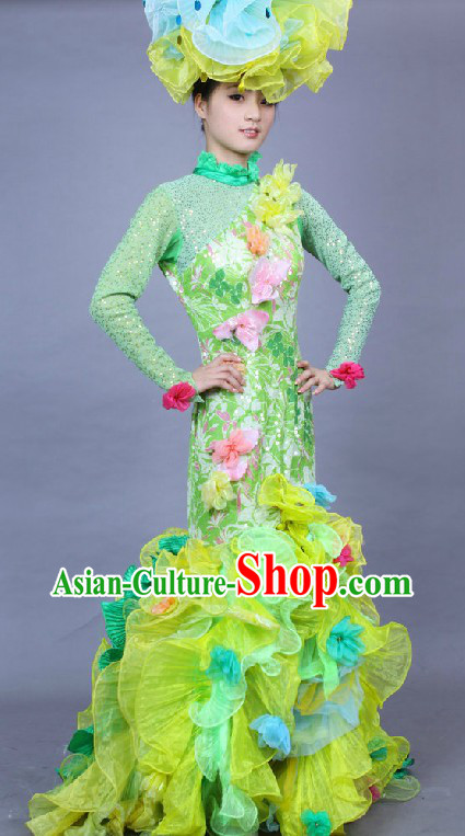 Chinese Stage Performance Flower Dance Costume and Headpiece Complete Set