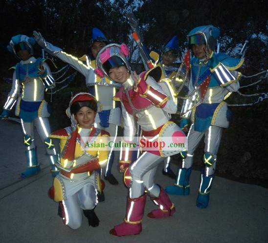 Custom Made EL Wire Luminous Performance Costumes Complete Set