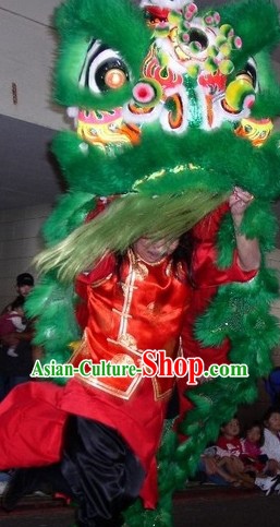 Grand Opening Green Fur Lion Dance Costumes Complete Set