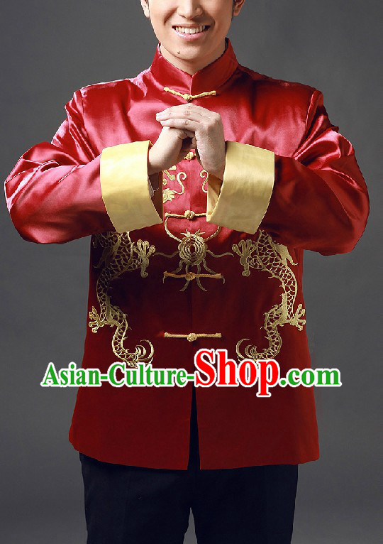 Traditional Chinese Red Mandarin Embroidered Dragon Blouse