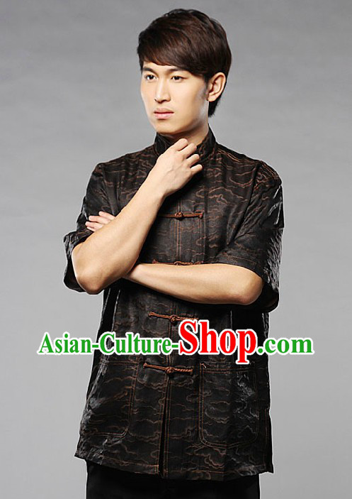 Traditional Chinese Silk Black Auspicious Cloud Blouse for Men