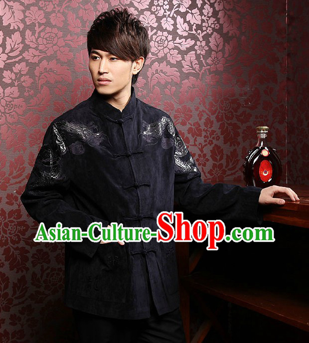 Traditional Chinese Black Dragon Clothing for Men