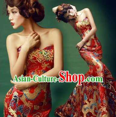 Chinese Classical Mandarin Dragon Golden Evening Dress for Women