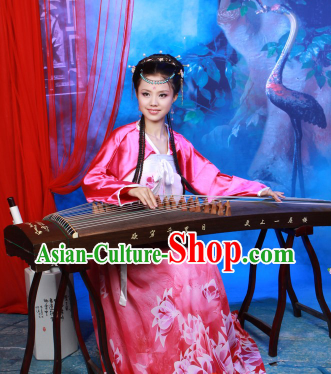 Traditional Chinese Guzheng Player Performance Costume