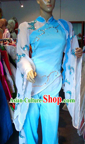Traditional Chinese Mandarin White and Blue Dance Costume for Women