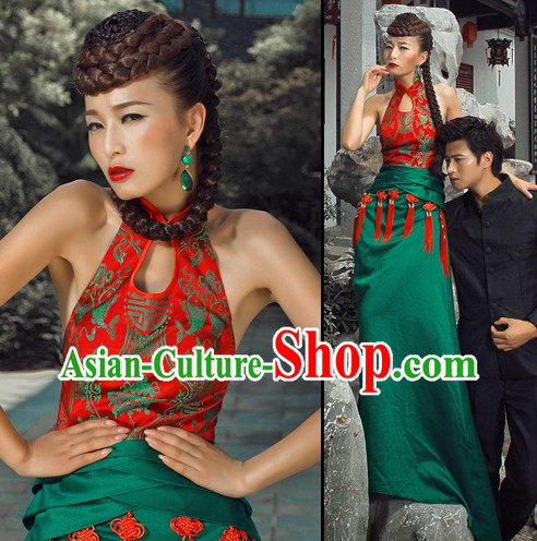 Chinese Classical Green Qipao Cheongsam for Women