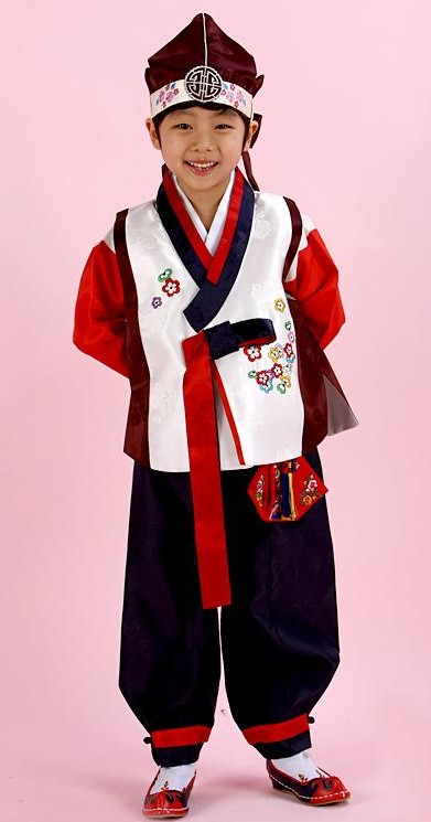 Traditional Korean Hanbok Birthday Celebration Clothing and Hat for Children