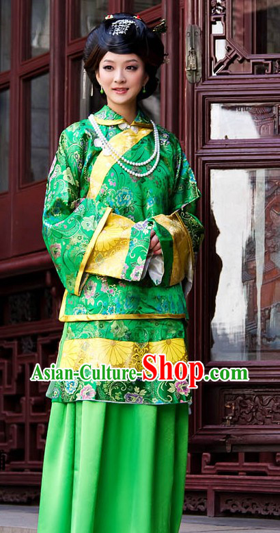 Traditional Chinese Mandarin Green Clothing for Women