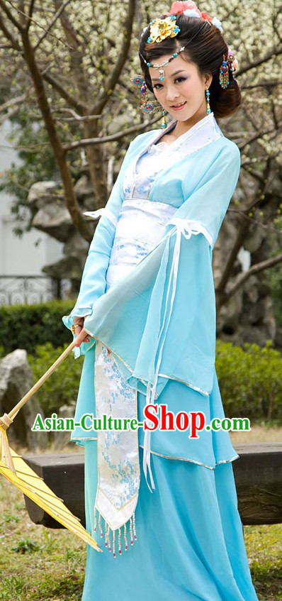 Ancient Chinese Light Blue Lady Costumes