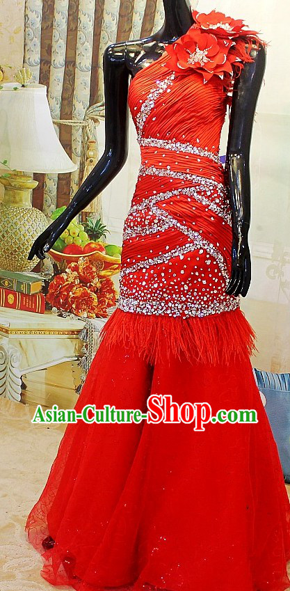Shinning Chinese Red Wedding Evening Dress