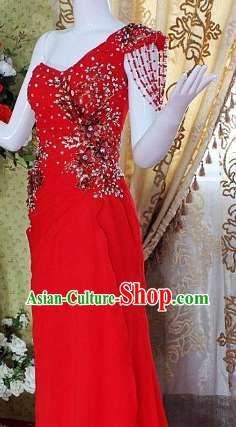 Lucky Red Chinese Wedding Evening Dress