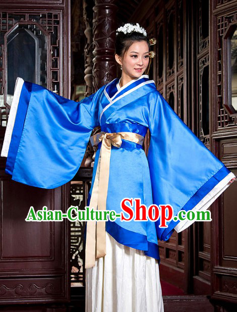 Ancient Chinese Blue Han Fu Clothes for Women