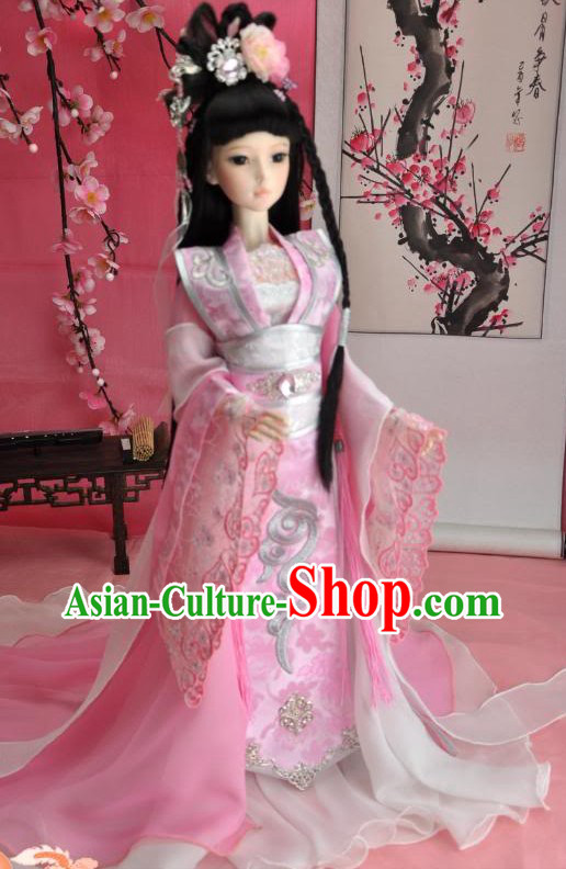 Ancient Chinese Pink Princess Costumes with Long Tail