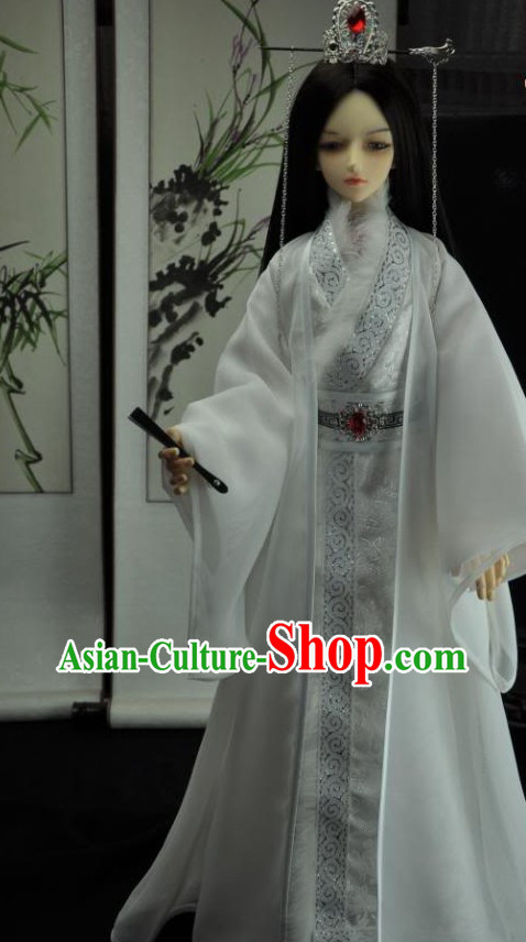 Ancient Chinese Prince White Clothes and Crown for Men