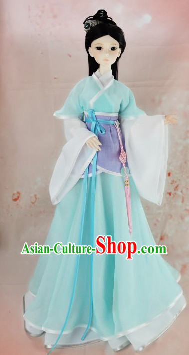 Ancient Chinese Light Blue Civilian Clothes for Women