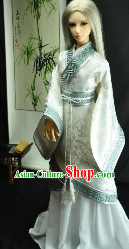 Ancient Chinese White Swordsman Costume for Men