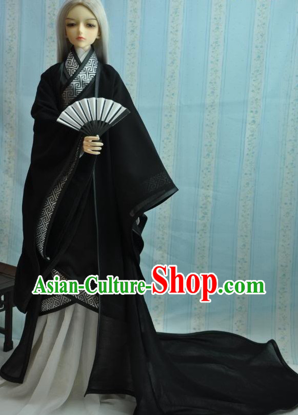 Ancient Chinese Black Han Fu Clothing for Men