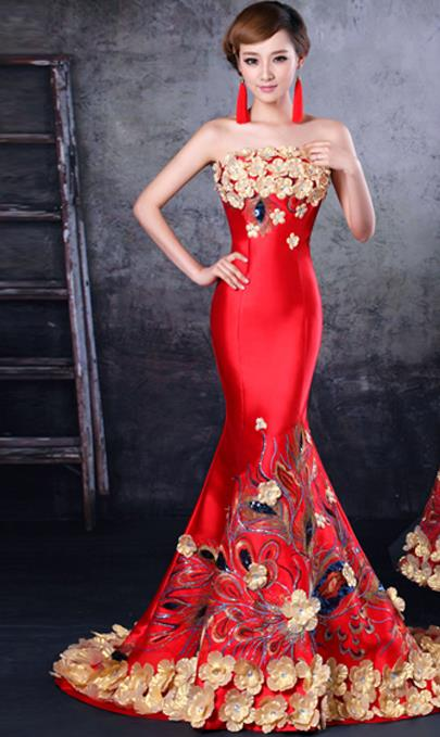 Chinese Romantic Blue and Red Evening Dress