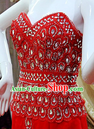 Stunning Red Chinese Wedding Evening Toasting Dress for Bride