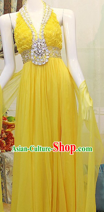Elegant Bright Yellow Wedding Evening Dress for Brides