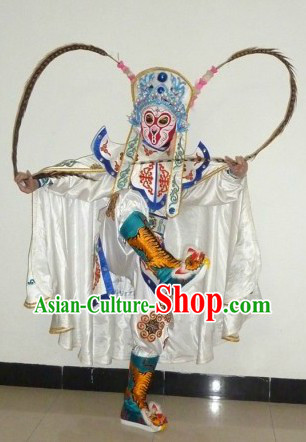 Professional Chinese Two Long Feahters Mask Changing Costume Complet Set
