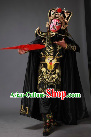 Chinese Black Mask Changing Dress Hat Boots Masks Complet Set