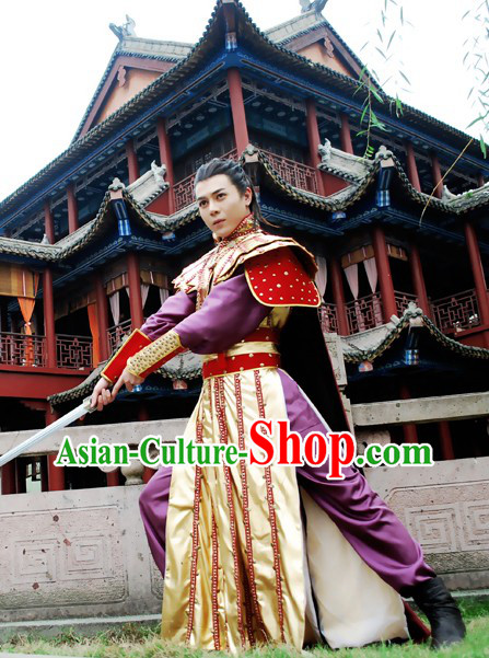 Ancient Chinese Swordsman Fighter Costumes Complete Set