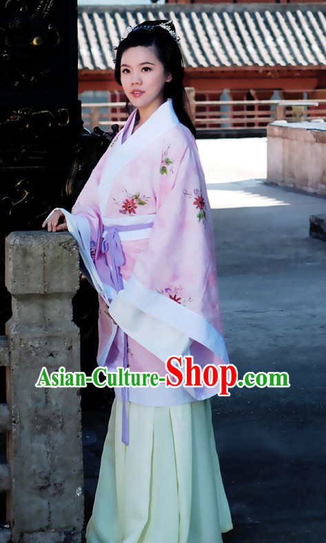 Ancient Chinese Pink Han Princess Costume and Fan
