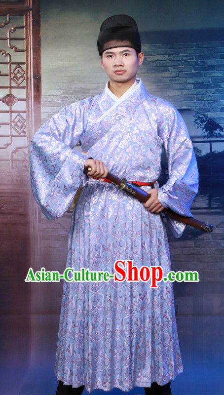 Traditioinal Chinese Ming Dynasty Clothing and Hat for Men
