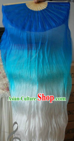 Blue to White Color Changing Long Silk Dance Fan