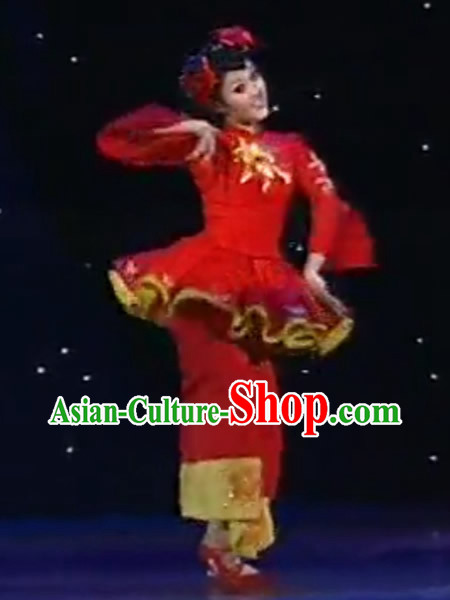 Chinese Barbie Doll Red Dance Costume for Women