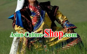 Ancient Chinese Mongolian Wedding Clothing and Hats for Men and Women