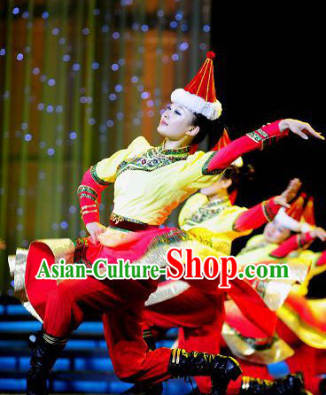 Mongolian Dance Costume and Hat for Women