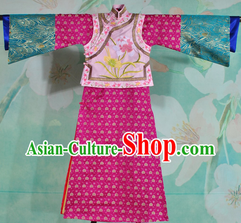 Supreme Qing Dynasty Embroidered Flower Princess Clothes Complete Set