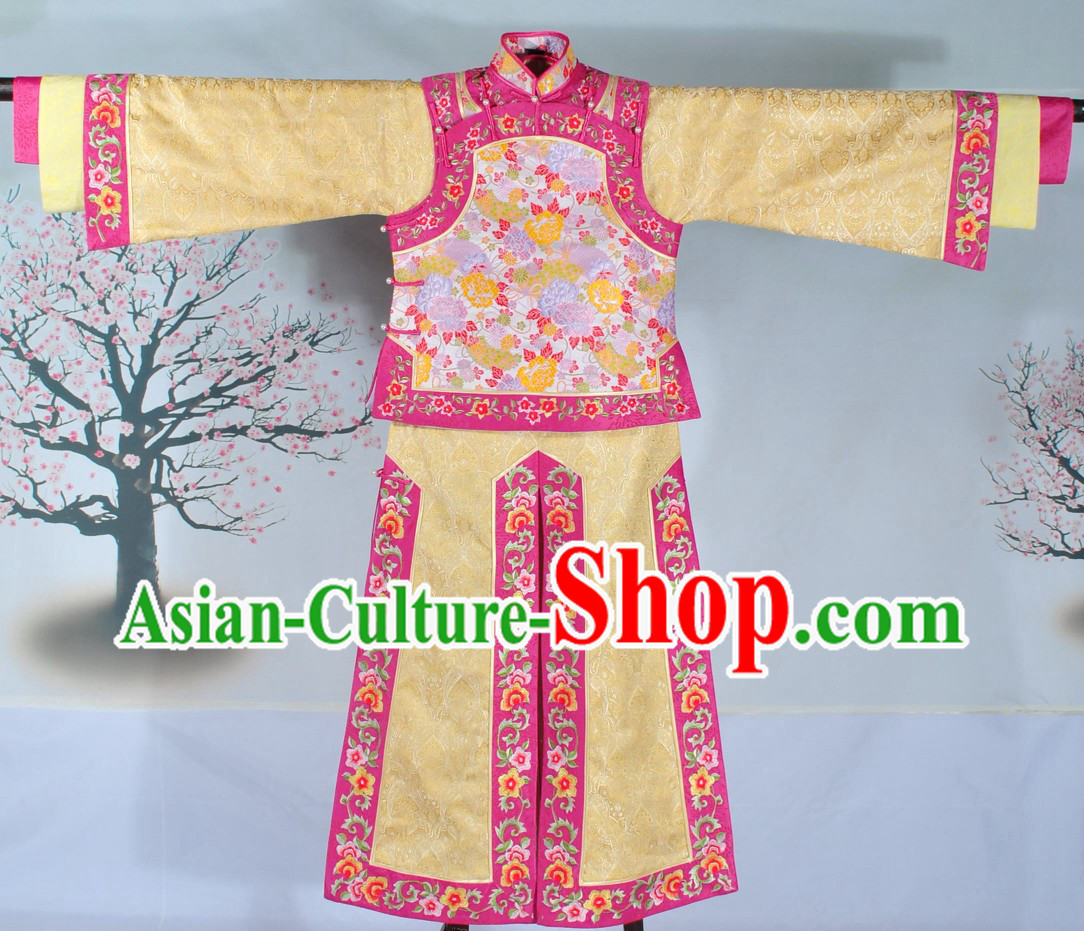 Supreme Qing Dynasty Embroidered Flower Princess Dress Complete Set