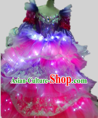 LED Lights Stage Performance Dance Costumes Complete Set for Women