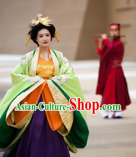 Ancient Chinese Tang Dynasty Empress and Emperor Clothing Two Complete Sets