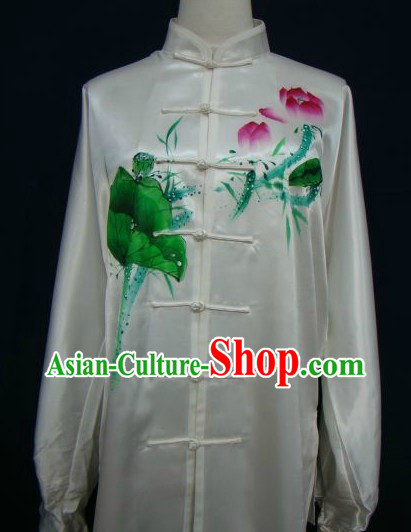 Chinese Classical White Hand Painted Lotus Kung Fu Uniform for Women