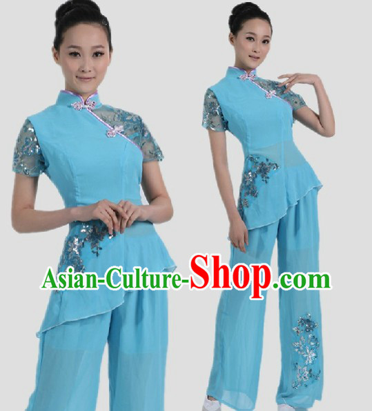 Chinese Classical Light Blue Fan Dance Costume for Women