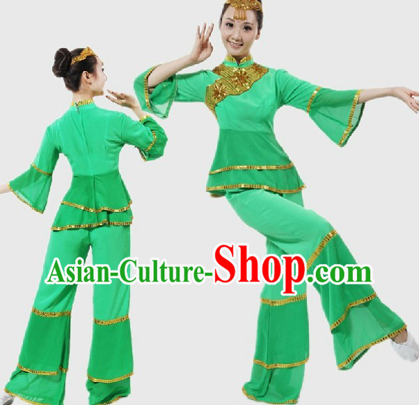 Chinese Classical Green Fan Dancing Costume for Women