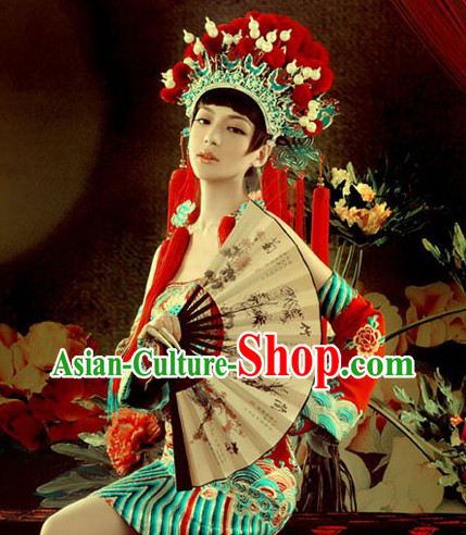Chinese Classic Wedding Phoenix Crown and Dragon Clothes for Women