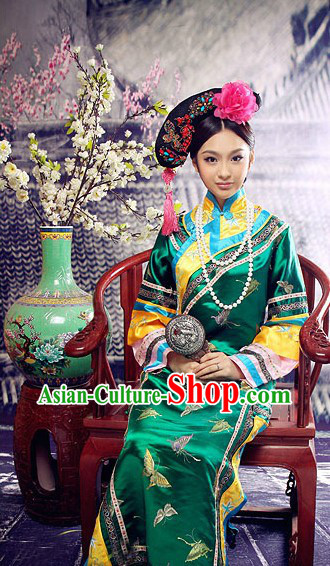 Traditional Chinese Qing Dynasty Manchu Princess Clothing for Women