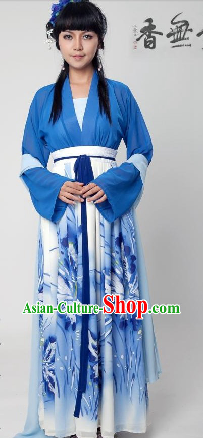 Ancient Chinese Han Dynasty Blue Clothing Complete Set for Women