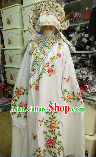 Chinese Peking Opera Embroidered Flower Costume and Hat for Men