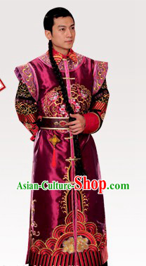 Ancient Chinese Emperor Wedding Dress Complete Set for Bridegrooms