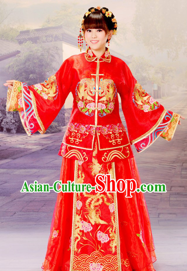 Chinese Classic Embroidered Phoenix Wedding Dress Complete Set for Brides